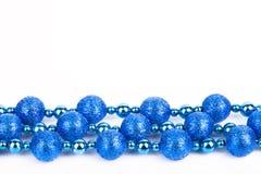 Decoração azul do Natal no fundo branco Foto de Stock