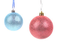 Decoração azul e cor-de-rosa do Natal da bola. Imagens de Stock Royalty Free