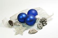 Decoração azul e de prata fotografia de stock