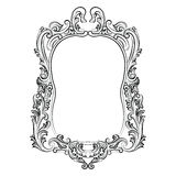 Decoração barroco do quadro do espelho dos rococós Imagens de Stock