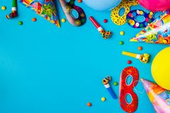 Decoração brilhante para um aniversário, um partido, um festival ou um carnaval foto de stock
