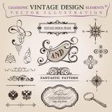 Decoração caligráfica do vintage dos elementos. Frame do vetor imagens de stock