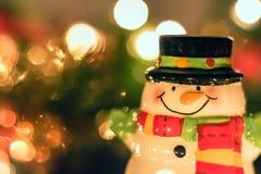 Decoração cerâmica do boneco de neve e do Natal Foto de Stock Royalty Free