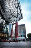 Decoração chinesa do ano novo na estrada do pomar Imagem de Stock Royalty Free
