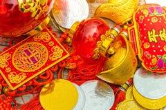 Decoração chinesa do ano novo na parede de madeira , Te dos caráteres chineses Foto de Stock Royalty Free