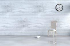 Decoração cinzento-branca da sala de visitas do sótão com sofá Foto de Stock