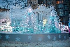 Decoração clara tridimensional do Natal sob a forma das árvores de Natal Foto de Stock Royalty Free