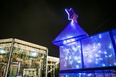Decoração clara tridimensional do Natal sob a forma das árvores de Natal Foto de Stock