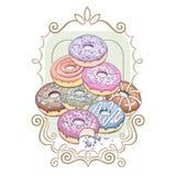 Decoração com anéis de espuma e um quadro decorativo ilustração royalty free