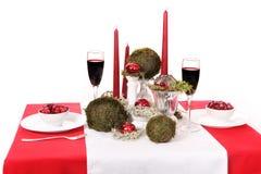Decoração com velas, mo da tabela Fotografia de Stock