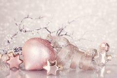 Decoração cor-de-rosa do Natal Imagens de Stock