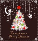Decoração criançola do Natal do corte de papel com a árvore branca com os brinquedos verdes vermelhos e vela dourada, flocos de n ilustração do vetor