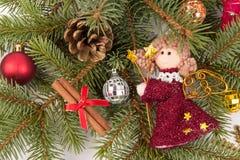 Decoração da árvore de Natal com anjo fotografia de stock