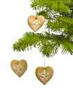 Decoração da árvore de Natal dos bolinhos da forma do coração Fotos de Stock