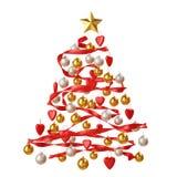 Decoração da árvore de Natal isolada no fundo branco Imagem de Stock