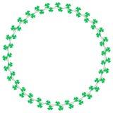 Decoração da beira da grinalda do círculo do trevo para o dia de Patrick's de Saint Imagens de Stock