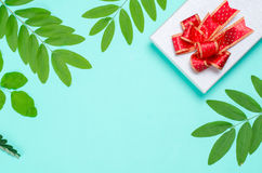 Decoração da caixa de presente com folha verde Imagens de Stock