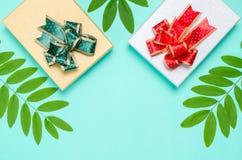 Decoração da caixa de presente com folha verde Fotografia de Stock Royalty Free