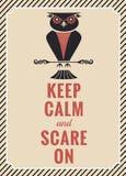 Decoração da coruja do vintage de Dia das Bruxas Imagens de Stock Royalty Free