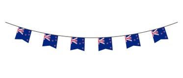 Decoração da estamenha nas cores da bandeira de Nova Zelândia Festão, flâmulas em uma corda para o partido, carnaval, festival, c ilustração do vetor