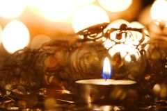 Decoração da luz de vela do Natal fotografia de stock royalty free