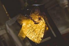 A decoração da luz da forma do coração altera-se perto Imagens de Stock Royalty Free