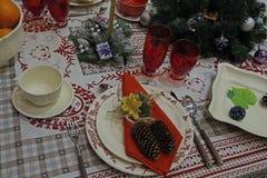 A decoração da mesa de jantar Foto de Stock Royalty Free