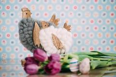Decoração da Páscoa com cores pastel Imagens de Stock
