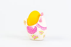 Decoração da Páscoa com um ovo amarelo Fotos de Stock