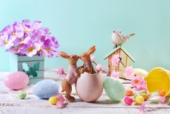 Decoração da Páscoa nas cores pastel Imagens de Stock