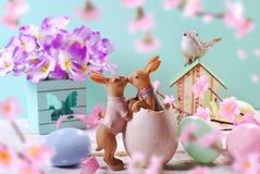 Decoração da Páscoa nas cores pastel Fotografia de Stock