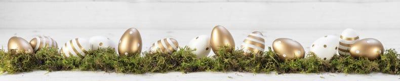 A decoração da Páscoa, ouro pintou ovos no musgo contra um whit cinzento Imagem de Stock