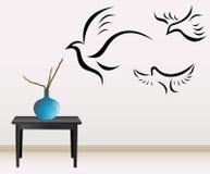 Decoração da parede com pássaros Foto de Stock Royalty Free