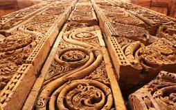 Decoração da parede em Qutub Minar Foto de Stock