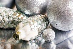 Decoração da prata do ano novo Foto de Stock Royalty Free