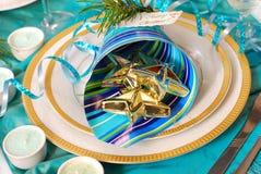 Decoração da tabela do Natal em cores de turquesa Imagens de Stock