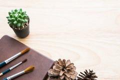 Decoração da tabela do tom de Brown com cacto e o pincel verdes Imagem de Stock Royalty Free