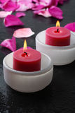 Decoração da vela e da pétala da flor. imagem de stock royalty free