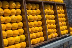 Decoração das laranjas na parede Imagens de Stock Royalty Free