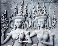 A decoração de Ap-sara no canto de Angkor Wat, Camboja Imagens de Stock Royalty Free