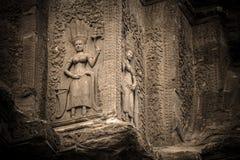 A decoração de Apsara no canto de Angkor Wat, emenda colhe, Camboja fotos de stock royalty free
