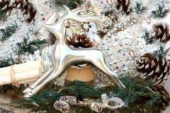 Decoração de Cristmas com cervos de prata Fotos de Stock Royalty Free