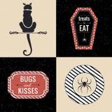 Decoração de Dia das Bruxas com silhueta do gato e citações do Dia das Bruxas Fotografia de Stock