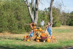 Decoração de Dia das Bruxas do espantalho no campo Arkansas, EUA Foto de Stock Royalty Free