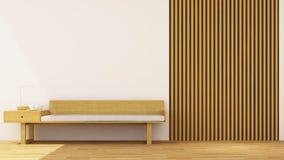 Decoração de madeira da sala de visitas - rendição 3d Foto de Stock Royalty Free
