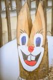Decoração de madeira do coelho da Páscoa Fotos de Stock Royalty Free