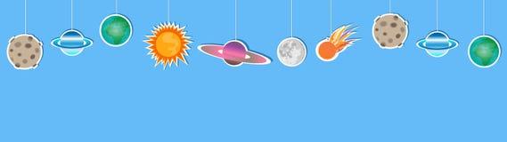 Decoração de papel de suspensão dos planetas dos desenhos animados em claro - fundo azul ilustração royalty free