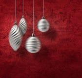 Decoração de prata do Natal no vermelho Foto de Stock