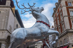 Decoração de prata Londres do Natal da rena Fotografia de Stock Royalty Free