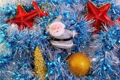 Decoração de Santa Claus e do Natal no ouropel Fotos de Stock